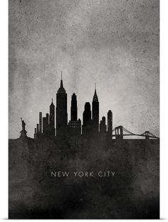 Black and White Minimalist New York City Skyline