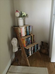 Vintage ladder made into a bookcase