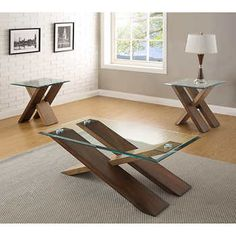 Como Occasional Table Set Cocktail Table & 2 End TablesBirch Veneers & Tempered Glass with Beveled Edge Medium Cherry Finish Contrasted with Natural Birch Wood Cross-Tie StylingBy Adalyn Home Metal Furniture, Home Decor Furniture, Sofa Furniture, Furniture Projects, Furniture Design, Wood Shop Projects, Easy Wood Projects, Tea Table Design, Coffee And End Tables