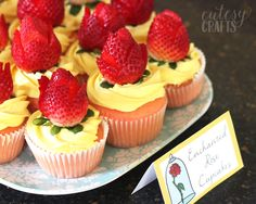 Easy Beauty and the Beast Cupcakes with Strawberry Roses