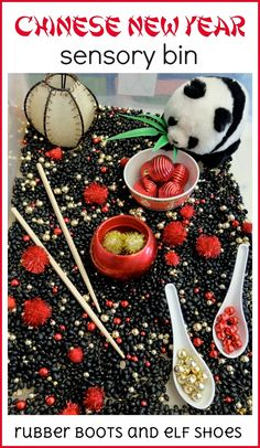 Chinese New Year sensory bin using black beans, red and gold beads and pom moms and Chinese items. Part of our kindergarten CNY learning. Chinese New Year Crafts For Kids, Chinese New Year Activities, New Years Activities, Chinese New Year 2020, Holiday Activities, Activities For Kids, Preschool Ideas, Chinese Crafts, Holiday Themes