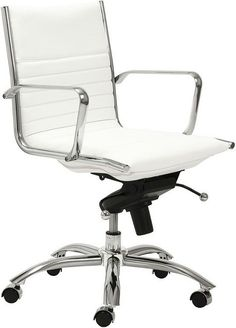 twopad office chair in rose gold and white italian leather smooth