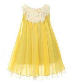 Kids Dream Yellow Chiffon Floral Lace Bodice Easter Dress Girls 2T-14