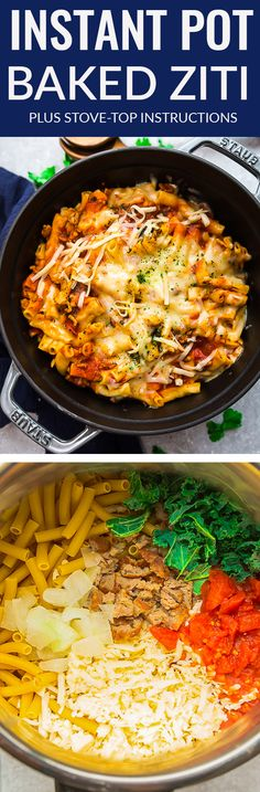 Instant Pot Baked Ziti – the perfect easy and comforting pasta dish for busy weeknights. Best of all, everything is made completely in the pressure cooker – even the pasta. So simple to swap in penne, farfalle or any other tubular pasta. Can be made in one pot on the stove or using your Instant Pot. Cooks like an easy slow cooker lasagna for a cozy Sunday dinner. #instantpot #ziti #pasta #baked #stovetop #onepot