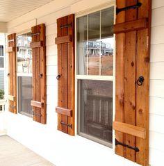 New exterior farmhouse shutters board and batten ideas Window Shutters Inside, Outdoor Shutters, Cedar Shutters, Diy Shutters, Repurposed Shutters, Exterior Shutters, Farm Shutters, Homemade Shutters, Wooden Window Shutters