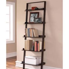 Leaning Ladder 5-Shelf Bookcase, Espresso instead of the other one since this has a ledge to keep things from falling off the back.  Great place for books and memento's from school, sports trophies etc.