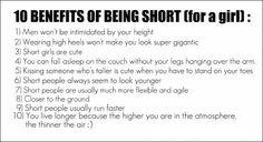 Benefits of being short. Hahaha