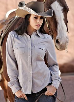 Cowgirl Tuff Button Up Shirt. Love the lace detail on the cowboy hat!
