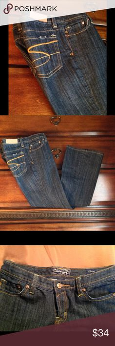 """NWOT! """"SEVEN7"""" FLARE JEANS, NWOT, Never Worn! Darker Wash in size 26. 30"""" Waist, 7""""rise, 33""""inseam, And 9"""" leg opening/flare. Love These Jeans but do no't flatter me¡ Seven7 Jeans Flare & Wide Leg"""
