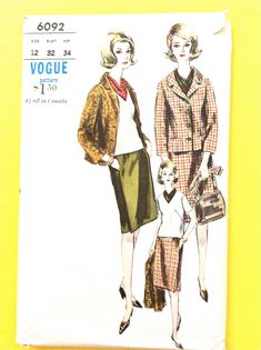 Early 60s Women's  Vintage Sewing Pattern Vogue 6092; ca. 1963; Jacket, Skirt, Blouse and Scarf Jacket  shawl collar Welt pockets  Bust 32