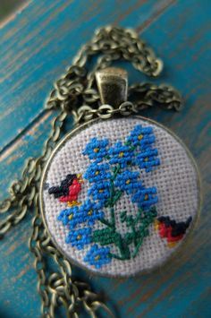 Forget-me-not pendant Embroidered birdie Bullfinch necklace