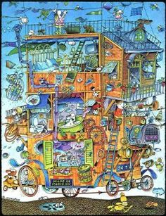 Solve House on wheels jigsaw puzzle online with 130 pieces Nostalgic Art, Puzzle Art, Hidden Pictures, Fantasy House, Humor Grafico, Fantastic Art, House On Wheels, Cartoon Art, Graphic