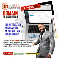 We register domain names in conjunction with domain extensions as well country-code domains (ccTLDs) like .ke, .co.ke etc. Also getting TLDs (Top Level Domains e.g .biz, .tech, .org etc) that suit your business or cause.  #inspimate #domain #registration #webhosting #email #DomainNameSearch #DomainRegistration  For registration and configuration of a professional Domain and E-mail Hosting:-  📧 mail@inspimate.co.ke 📲 +254711719925 Marketing Goals, Business Marketing, Online Business, Website Design Services, Name Search, Growing Your Business, Understanding Yourself, Extensions, Resume