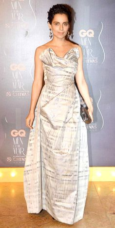 Kangana Ranaut in a subtle, off shoulder Vivienne Westwood gown at GQ Men's Awards Show 2014.
