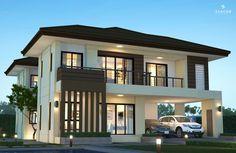 บ้านทั้งหมดครอบครัวขนาดกลาง - บริษัทรับสร้างบ้าน ซีคอน สร้างได้อย่างที่ฝัน สร้างบ้านกับซีคอน Modern Tropical House, Tropical Houses, Home Bedroom, Bedrooms, Bedroom Ideas, 2 Storey House, Plans Architecture, Home Design Plans, Rental Property