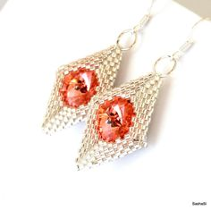 VOLCANO Geometric EarringsNecklace with Swarovski by SashaSi
