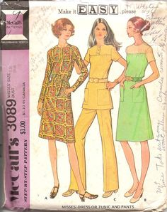 Vintage Sewing Pattern McCalls 3089 Dress Tunic by TenderLane, $8.00