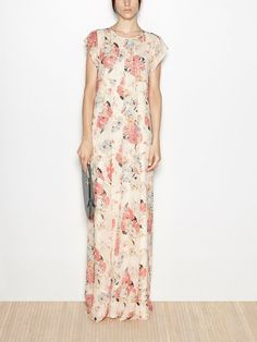 Maxi vestido de seda estampado acuarela