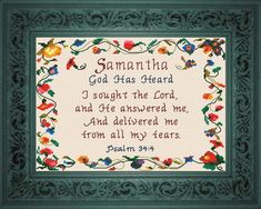 Samantha - Name Blessings Personalized Cross Stitch Design from Joyful Expressions