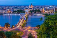 Budapest Chain Bridge and Basilica at Night