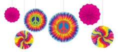 Feeling Groovy Paper Fan Decorations 6ct - Party City