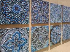 garden decor - outdoor wall art made from ceramic - Set of 8 (Moroccan, Suzani or Mandala) wall decor - wall art - tiles - turquoise click now for info. Metal Tree Wall Art, Hanging Wall Art, Wall Art Decor, Wall Hangings, Wall Decorations, Ceramic Wall Art, Tile Art, Wall Tile, Bathroom Wall