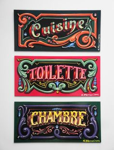 Gustavo Ferrari  cuisine-toilette-chambre Painted Letters, Hand Painted Signs, Vintage Signs, Vintage Posters, Typographie Inspiration, Hand Lettering Alphabet, Sign Writing, Retro Logos, Vintage Typography
