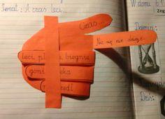 Pomysł na notatkę z lekcji na temat czasu... na odrysowanej i wyciętej z kolorowego papieru dłoni.