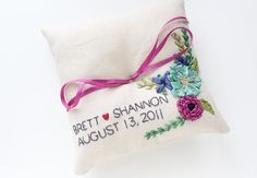 Ring pillow with embroidered names wedding by MichelleEdgemont, $110.00