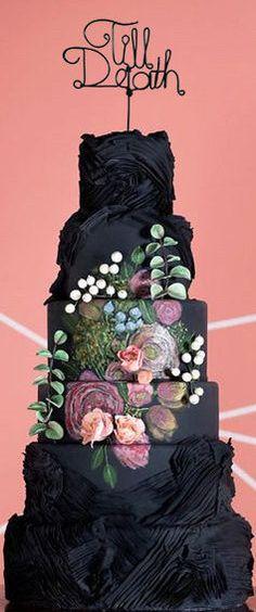 Till Death Wedding Cake Topper and Black Cake  - Wire Cake Topper - Gothic Cake Topper -