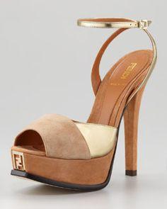 S9783 Fendi Fendista Colorblock Ankle-Wrap Sandal, Gold Camel