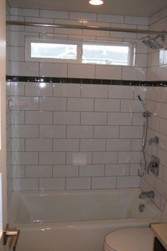 Large Subway Tile W Gl Accent Note Tub Shower So Same Size As Ours