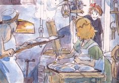 Enjoy a collection of Concept Art from Studio Ghibli Kiki's Delivery Service, featuring Character, Layout, Prop & Background Design. Hayao Miyazaki, Totoro, Nausicaa, Studio Ghibli Art, Film D'animation, Ghibli Movies, Fan Art, Anime Manga, Concept Art