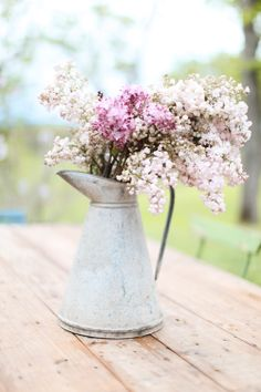 lilacs, country decor, rustic vase