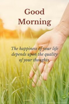 Good Morning. The happiness of your life depends upon the quality of your thoughts.