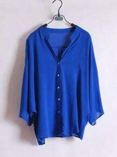 Blue Chiffon Wide Sleeve Shirt