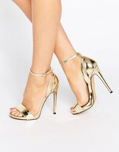 Lost Ink Raula Gold Ankle Strap Heeled Sandals