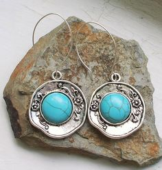 Southwest Style Turquoise Howlite Earrings Sterling by Connieosity