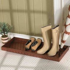 Entryway Boot Tray - traditional - shoeracks - - by Ballard Designs Remove Paint From Metal, Paint Metal, Shoe Tray, Boot Storage, Boot Rack, Room Accessories, Ballard Designs, Upcycled Furniture, Getting Organized