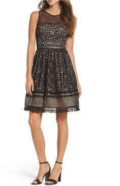9d81dd0bb66 NEW WOMENS ELIZA J Lace Fit  amp  Flare Dress Black Short Sleevs  178   fashion