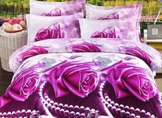 Purple Rose and Diamond Print 4-Piece Polyester 3D Duvet Cover Sets