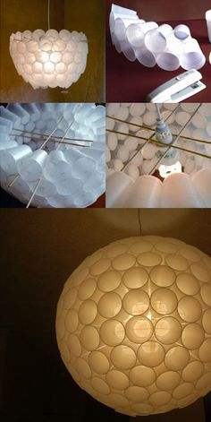 41 New Ideas For Lighting Art Plastic Cups Fun Crafts, Diy And Crafts, Arts And Crafts, Craft Projects, Projects To Try, Church Stage Design, Diy Chandelier, Chandeliers, Plastic Cups