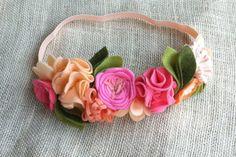 Felt Flower Crown // Coral, Peach + Pink // Birthday Party Crown // Fairy Princess Headband