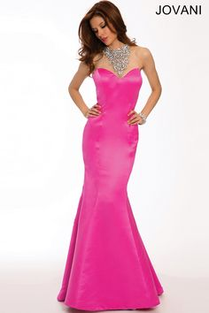 Pink Satin Mermaid Gown 20999