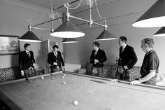 The boys relax in the Billiards Room