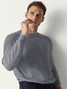 Fall Winter 2018 Men´s STRIPED COTTON SWEATER at Massimo Dutti for 59.95. Effortless elegance!