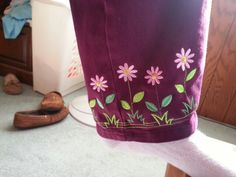 Embroidered pant leg