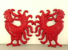 Red Cast Iron Roosters  Set of 2 Rustic by ShabbyAvenueVintage, $16.00