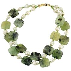 Preowned Natural Pearls And Prehnite Necklace ($992) ❤ liked on Polyvore featuring jewelry, necklaces, multiple, white necklace, pearl jewelry, white jewelry, chunky jewellery and white pearl jewelry