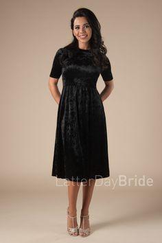 modest velvet bridesmaid dresses in Salt Lake City, MK24612 in black